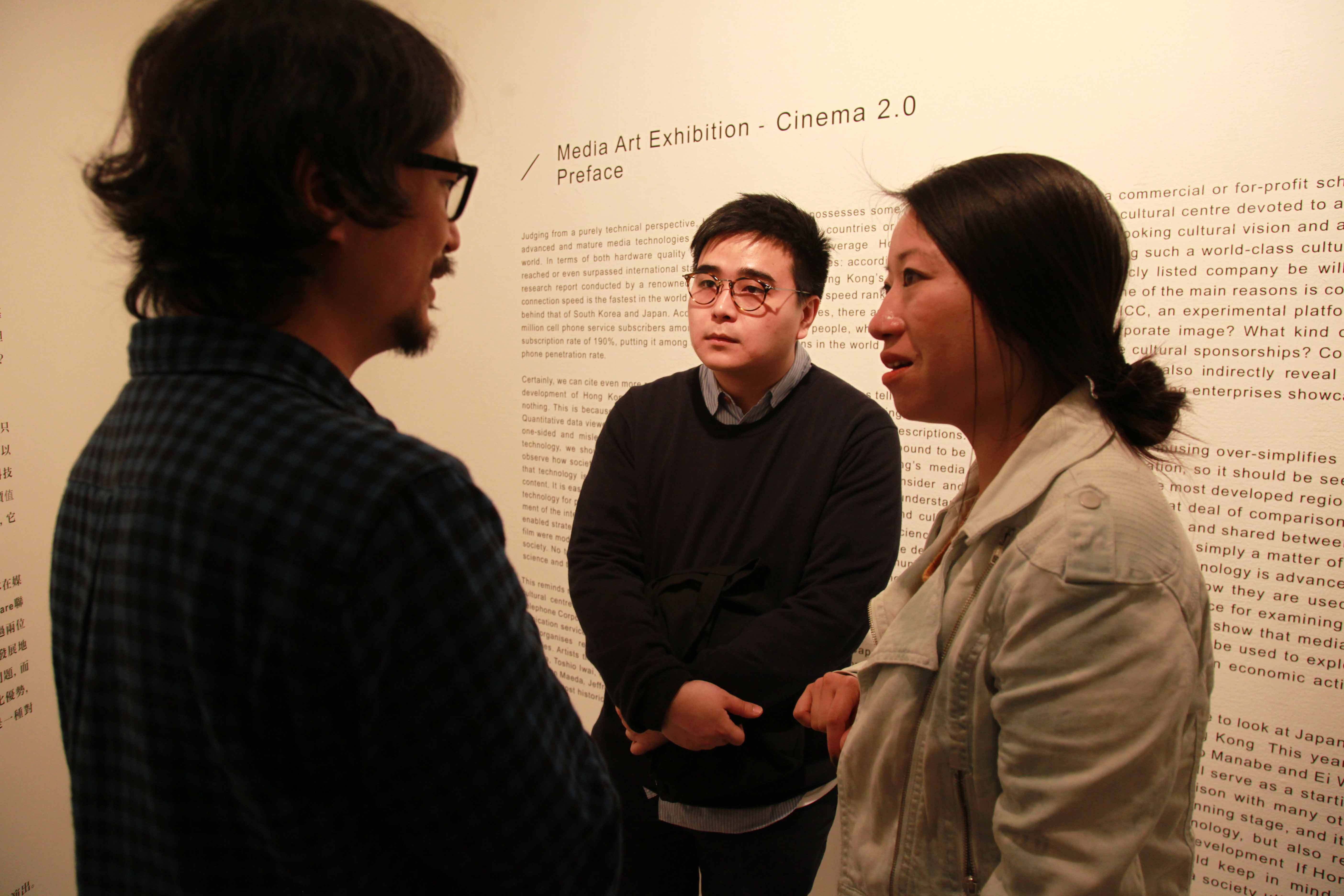 Daito Manabe was having dialogue with Jessey Tsang, one of the independent filmmakers in Hong Kong.