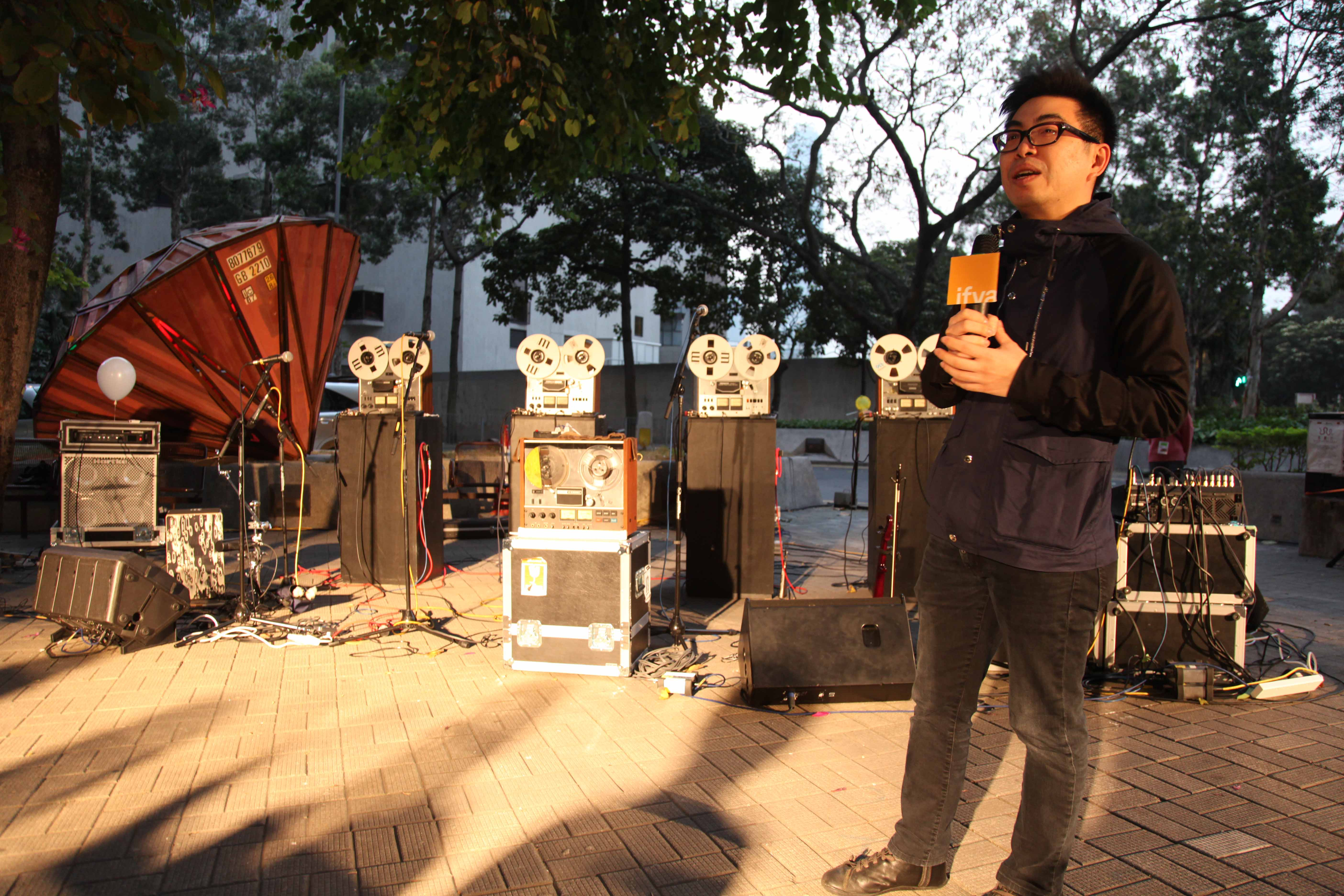 Curator Ip Yuk Yiu introduced Open Reel Ensemble and their inventive recorders