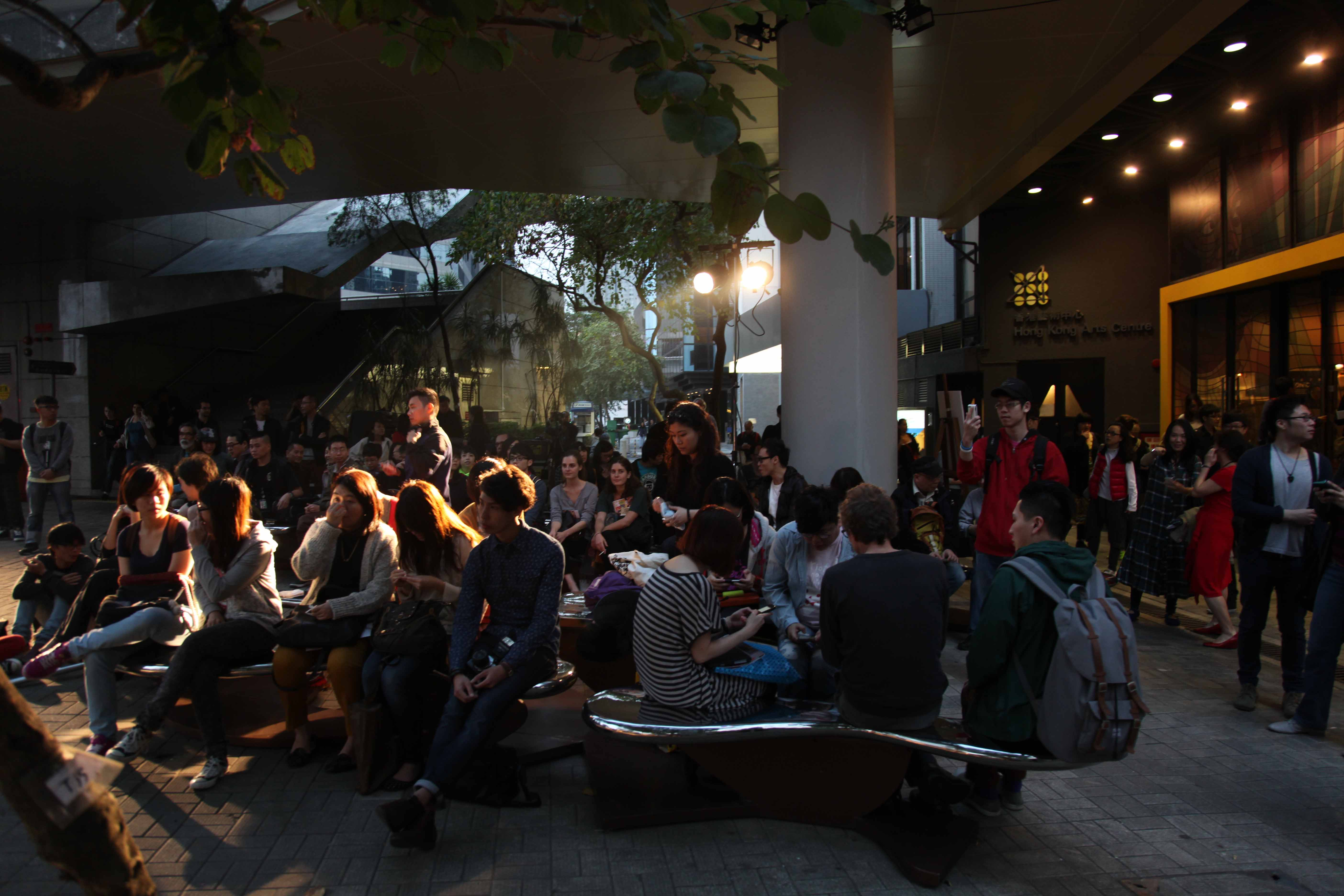 Audiences gathered outside Hong Kong Arts Centre for the performance